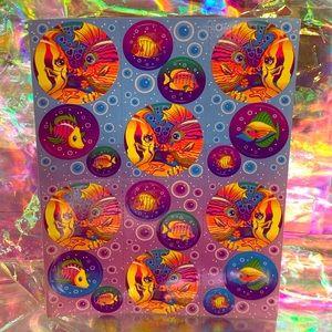 90s Lisa Frank kissing fish FULL sticker sheet